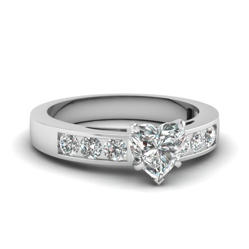 Fascinating Diamonds Magnificent Engagement Ring Channel Set 1.60 Ct Heart Shaped Diamond Vs2-H Color Gia