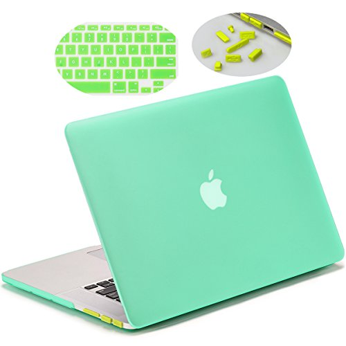 Matte Hard Case for 15-inch MacBook Pro Retina (A1398), LENTION Plastic Case for Apple Mac Book Laptop, Matte Finish with Rubber Feet, Come with Anti-Dust Port Plugs & Keyboard Cover (Green) (Macbook Pro 15 Inch Cover compare prices)