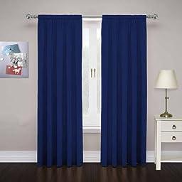 Cadenza Microfiber Window Panel, Set of 2, Size 80x63, Color Navy Blue