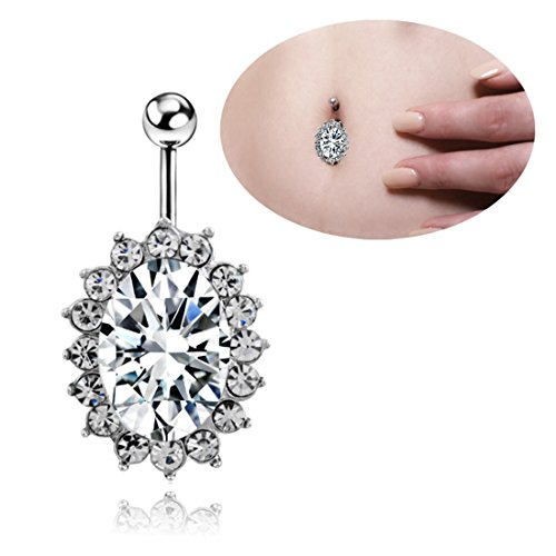 Navel Rings Piercing Jewelry Surgical Steel, Kredy 1pc 14 Gauge Big Oval Diamond Belly Button Rings Body Piercing Jewelry for Women Girls Teengirls Teens Girlfriend Wife (Belly Dance Costumes For Teenagers)