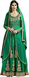 Shine Kreations Women's Georgette & Net Unstitched Salwar Suit (S-13, Green)