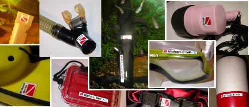 Personalized Waterproof 3M Sticker Labels for Scuba Diving gear, Boating gear, Fishing gear, Kayak gear and Camping gear