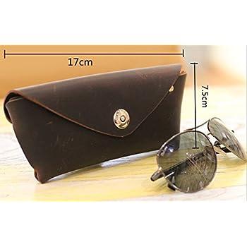 YAAGLE Genuine Leather Glasses Bag Case Soft Vintage Handmade