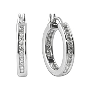 1.00cttw Natural White Round Inside Out Diamond Hoop Earrings in 14K White Gold. from TriJewels