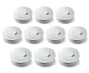 Ei Electronics Ei 650 10-Jahres-Rauchwarnmelder (mit fest verbauter 3V-Lithium-Batterie, 10 Jahre Produktlebensdauer) weiß, 10 Stück