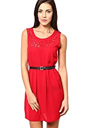 OVIYA Red Poly Crepe Dress