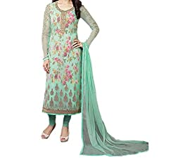 Paridhan Women's Georgette Unstitched Suit (SRPR 3577_Skyblue_Free Size)