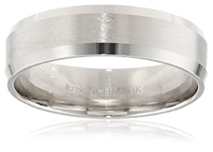 Men's 10k White Gold Comfort-Fit Wedding Band with Satin Center and Beveled Edges (6 mm), Size 9