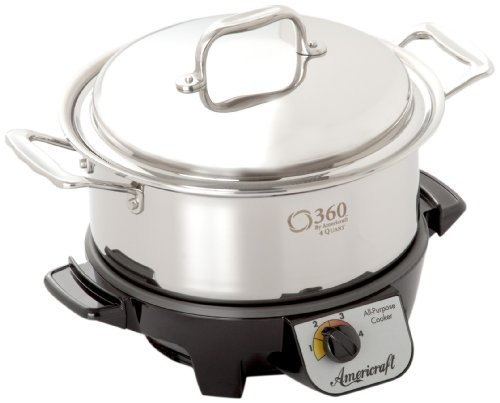 360 Cookware Gourmet Slow Cooker and Stainless Steel Stock Pot with Cover, 4 Quart by 360 Cookware (360 Cookware Stock Pot compare prices)