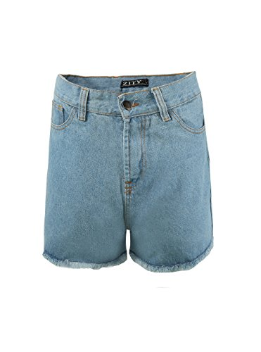 Lady jeans shorts Women Retro Girl High Waisted Oversize Crimping Boyfriend Jeans Shorts Pant Light Blue 16 (Vintage High Waisted Jean Shorts compare prices)