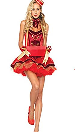 Xi Women's Two Style Red Female Clown Role Playing Halloween Costumes