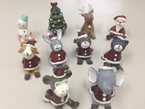 全員集合♪ クリスマス ミニ 動物 サンタ 10個セット 置物 インテリア プランターや鉢に飾っても可愛いミニサイズ 【kj312】