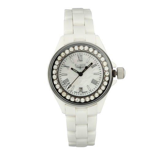 Elysee 30005 - Reloj analógico de mujer de cuarzo con correa de cerámica blanca - sumergible a 50 metros