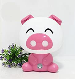 2016 Fashion Baby Pig Night Light Cartoon Table Desk Bed Sleeping Lamp for Christmas Gift Bedroom (pink)