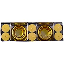 Giftadia Premium 6 Pcs Scented Tealight Candles With 2 Tealight Holders Set (GS-187) Yellow (LBH 24 X 8 X 5 Cm)