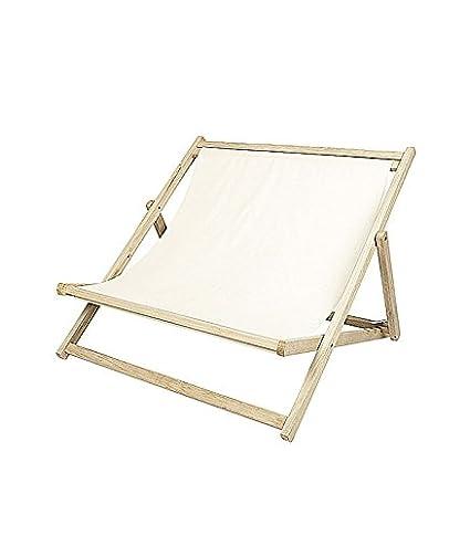 Doble silla mecedora de jardín madera y tejido marfil