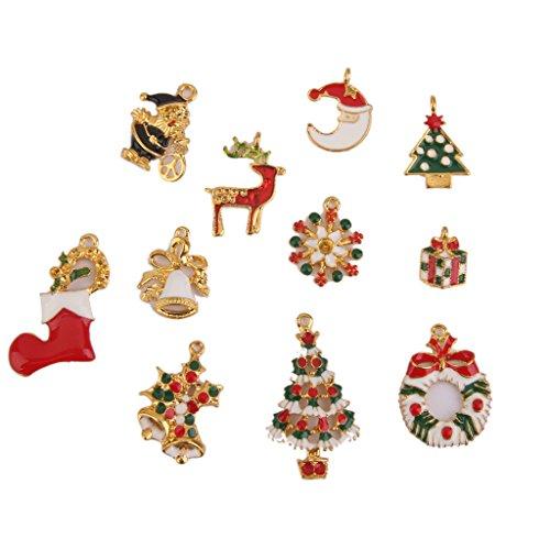11pcs Colgante Esmalte Adorno Decoración Para navidad Fiesta Joyería