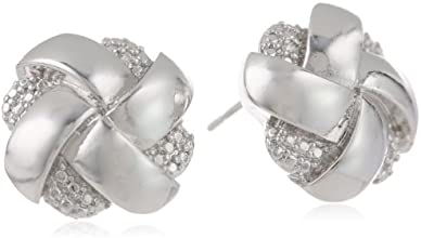 Rhodium Plated Bronze and Cubic Zirconia Woven Silver Colored Knot Stud Earrings
