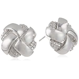 Rhodium Plated Bronze and Simulated Diamond Woven Silver Colored Knot Stud Earrings