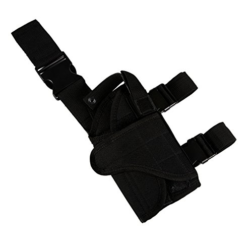 Shootmy Right Leg Holster Tactical Leg Holster with Velcro Attachments Made of Oxford- Leg Harness with Magazine Pouch (Black)