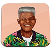 Nelson Mandela Wooden Coaster - Pop Art Modern Contemporary Decorative Art Coaster, Hipstory Project By Amit Shimoni...