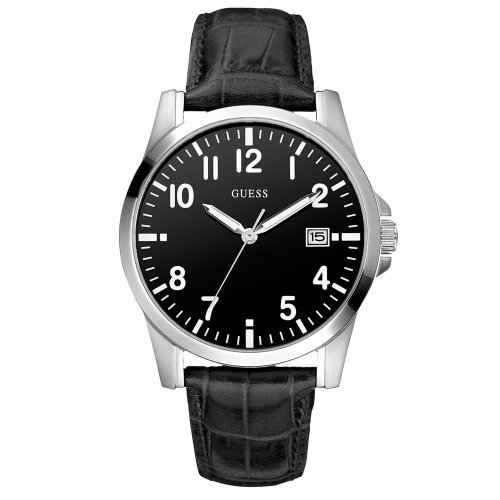 Guess W65012G3 - Reloj analógico de cuarzo para hombre con correa de piel, color negro