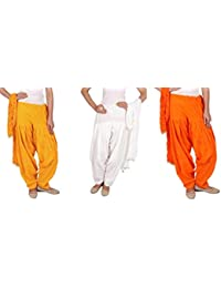 Rama Full Patiala Salwars With Dupattas Combo Of 3 ( Yellow, White, Orange_Free Size)
