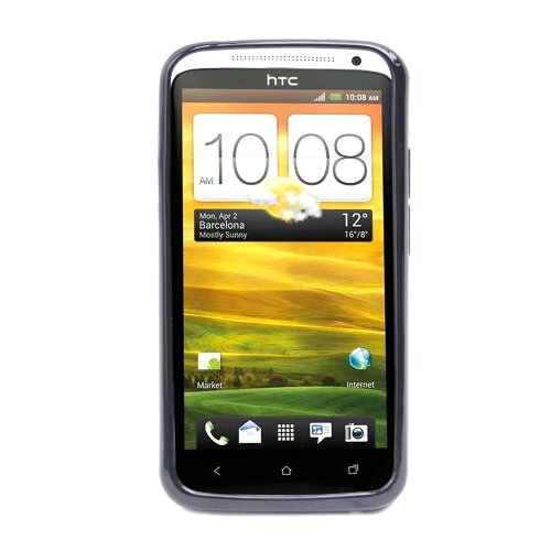 Fosmon X-Shape TPU Silicone Case for HTC One X - Black (Included Antenna Cell Booster)