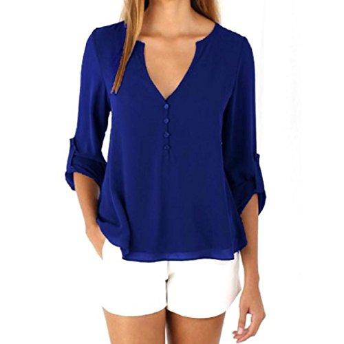 Mousseline-TopsOverDose-Womens-Lche--Manches-Longues-Blouse-Casual-Shirt-Mode-Blouse