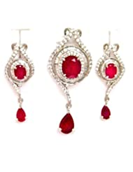 Orne Jewels Ruby Diamond Pendant Set For Women