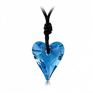 GoSparking Swarovski Elements Aquamarine Blue Heart Crystal Necklace Pendant with Austrian Crystal For Women NL68149