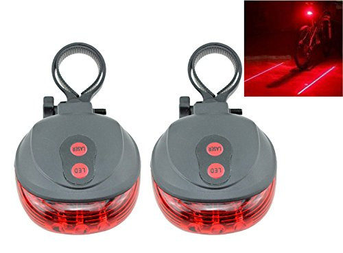 Welltop® 2Pcs Cycling Safety Warning Lamp Bicycle Rear Lamp Bike Laser Beam Tail Light With Bicycle Mount With Frosted Glass Shell For Mountain Bike Riding Equipment(5 Led+2 Laser) (Red Light)