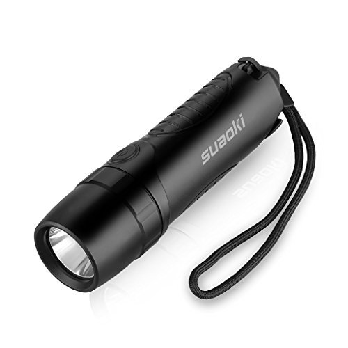 Suaoki Waterproof 4-in-1 Cree Rechargeable LED Torch Flashlight Powered by 5,200 mAh External Battery Charger, Window Smasher and Belt Cutter (Product Works Ultra Led 15 Lights compare prices)