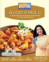 Ashoka Ready to Eat Aloo Chole, Potato & Chick Pea Curry, 10-ounce Boxes (Pack of 4 for the Price of 2)
