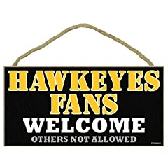 Buy Iowa Hawkeyes Wood Sign - 5''x10'' Welcome by Hall of Fame Memorabilia