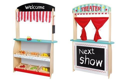 Kaufladen Holz Puppentheater ~ Joueco Puppentheater und Kinder Kaufladen in einem, aus Holz mit
