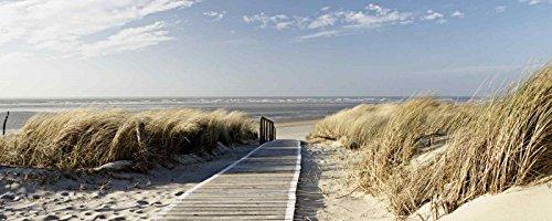 Glas – Bild Artland Wandbild Landschaften Strand Eva Gruendemann: Nordseestrand auf Langeoog Größe: 50 x 125 cm