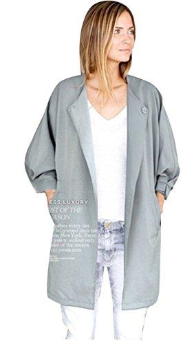 Molly Donne Elegante Collare Couverture Sciolto Fit Lungo Giacca Cappotto Grigio