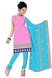 Parinaaz fashion Pink Cotton Unstitched Dress Material