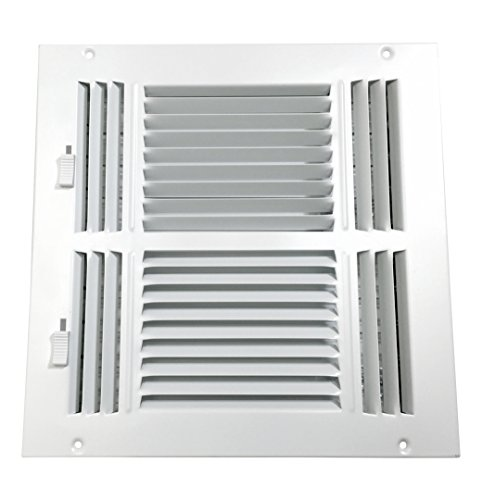 Accord ABSWWH41010 Sidewall/Ceiling Register with 4-Way Design, 10-Inch x 10-Inch(Duct Opening Measurements), White (Ceiling Register 10x10 compare prices)