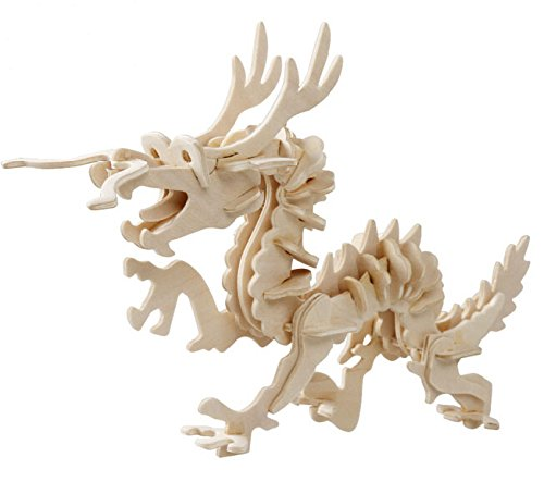 DI-008 3D Assembly Wooden Animal Dragon Loong Puzzle - 1