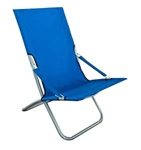METAL & CANVAS FOLDABLE CAMPING DECK CHAIR - BLUE