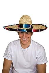 Jacobson Hat Company Cinco de Mayo Sombrero with Serape Band Mexican, Multicolor, Adult
