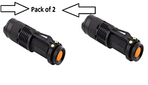 Abco Tech 3 Mode Cree 7W 300LM Mini LED Flashlight Torch Adjustable Focus Zoom Light Lamp PACK OF 2