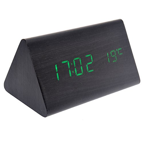 Tinksky 015-10 USB AAA Powered Triangle Shaped Voice Control Green Light Digital LED Wooden Desk Alarm Clock with Date Temperature (Black)