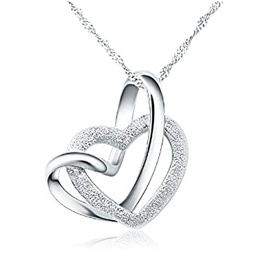 Forfamilyltd Sterling Silver A Lifetime Loving You Interlocking Heart Necklace W/Card - 45cm, 50cm