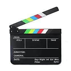 Imported Clapperboard TV Film Movie Clapboard Black Board with Colorful Stripe Slate