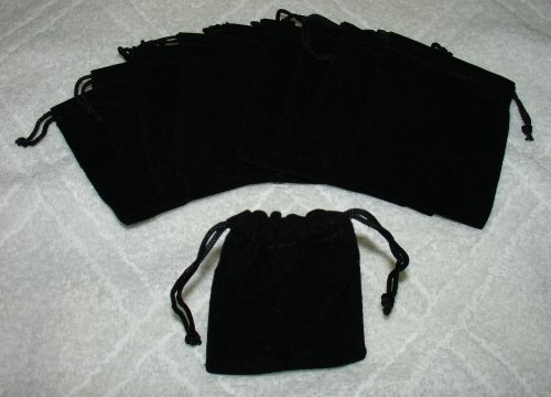 Best Review Of (10) Medium Velvet Black Pouches With Drawstrings