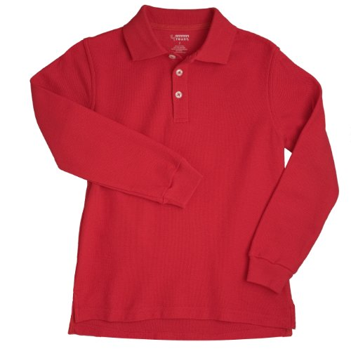 French Toast School Uniforms Long Sleeve Pique Polo Boys Red 4T front-893693