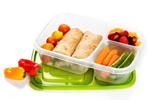 Black Friday 2013 EasyLunchboxes 3-compartment Bento Lunch Box Containers (Set of 4). BPA-Free. Easy-Open Lids (Not Leakproof)